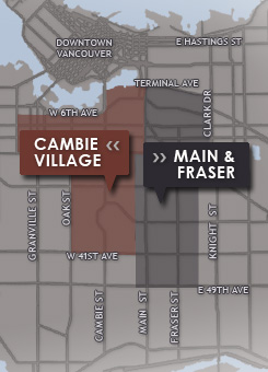 Vancouver neighbourhood map of Cambie Village, Main and Fraser